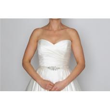 Perfect Bridal Brianne Belt - Ivory Satin / Clear Crystal