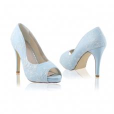 Perfect Bridal Celia Shoes - French Blue - Ivory Lace - Euro 40 (UK 6.5 / 7, US 9)