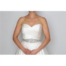 Perfect Bridal Cherise Belt - Ivory Satin / Clear Crystal