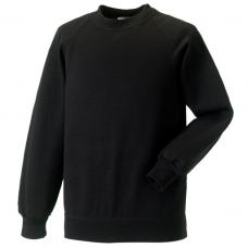 Jerzees Schoolgear Black Kids Raglan Sleeve Sweatshirt (11-12)