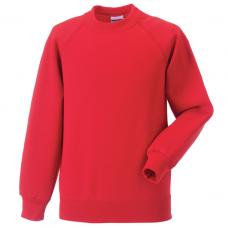 Jerzees Schoolgear Bright Red Kids Raglan Sleeve Sweatshirt (11-12)