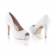 Perfect Bridal Celia Shoes - Oyster - Ivory Lace - Euro 40 (UK 6.5 / 7, US 9)