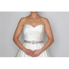 Perfect Bridal Deanna Belt - Ivory Satin / Clear Crystal