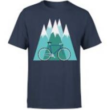 Bike And Mountains Men's Christmas T-Shirt - Navy - M - Navy